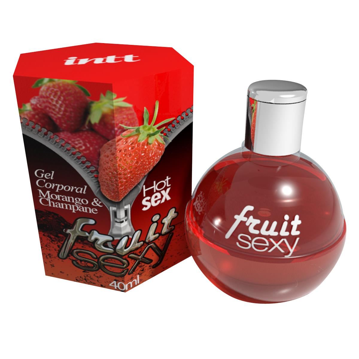 Gel Corporal Comestível Fruit Sexy - Sabor Morango & Champagne
