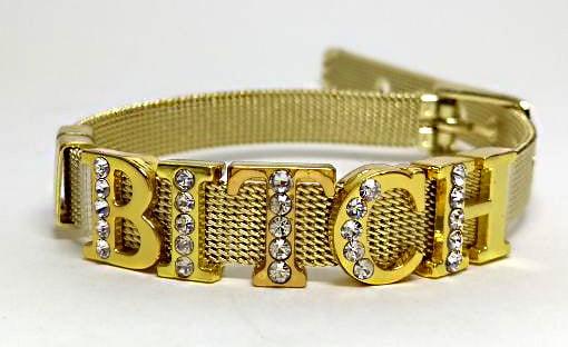 Pulseira Dourada BITCH Aço Inoxidável