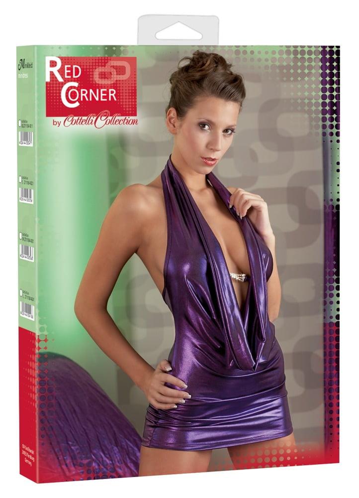 Vestido Roxo Brilhante com Decote - Red Corner