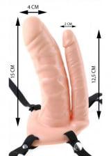 Unisex Hollow Double Penetrator - Capa Peniana Dupla com  Pênis  com Cinta Ajustável